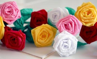 roses en papier crépon