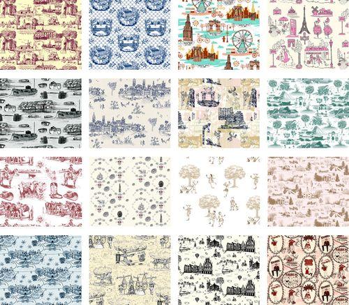 Modern toile wallpaper - Papier peint toile de jouy ...