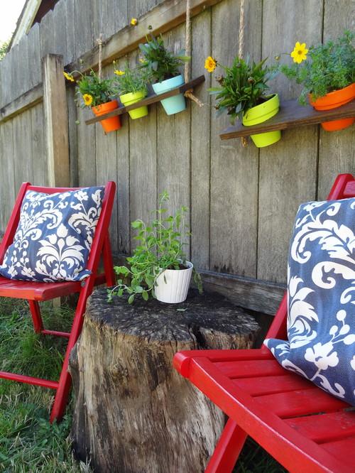des tag res suspendues construire au jardin. Black Bedroom Furniture Sets. Home Design Ideas