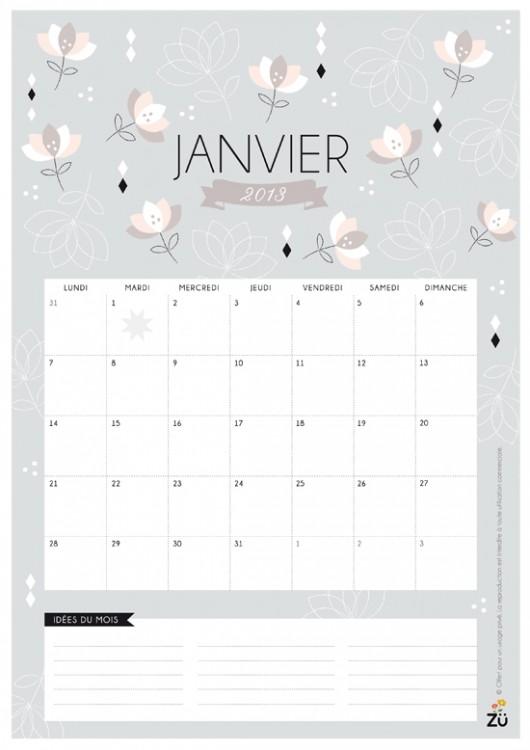Calendrier 2013 DIY - JANVIER - ZU