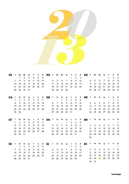 Free printable 2013 Calendar - L@U'S NOTEBOOK