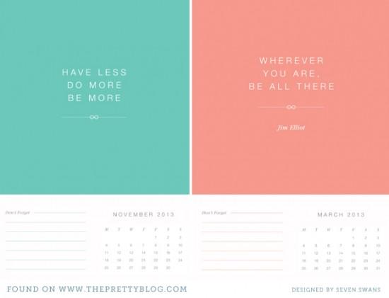 New Year's Resolution {Printable Calendar} - THE PRETTY BLOG