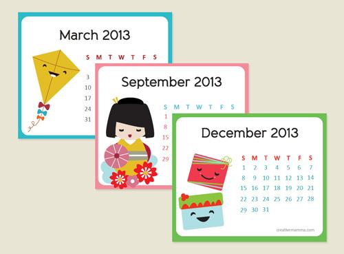 2013 Kawaii Mini Calendar - CREATIVE MAMMA