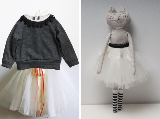 Organic cotton sweater + white skirtClara