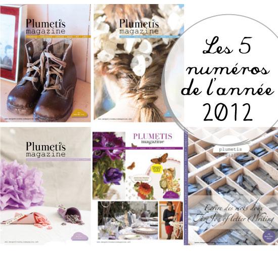 Les 5 numéros 2012 de Plumetis magazine