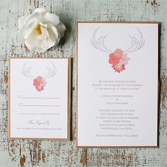 Antlers Free Printable Wedding Invitation Suite