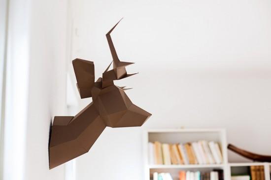 Tête de cerf en papier marron Foldeer