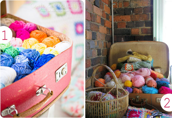 Yarn storage in a suitcase