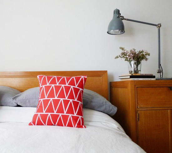 poppy red triangle pillow from Cotton&Flax
