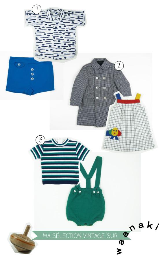 une sélection de vêtements enfants vintage  chez Waanaki
