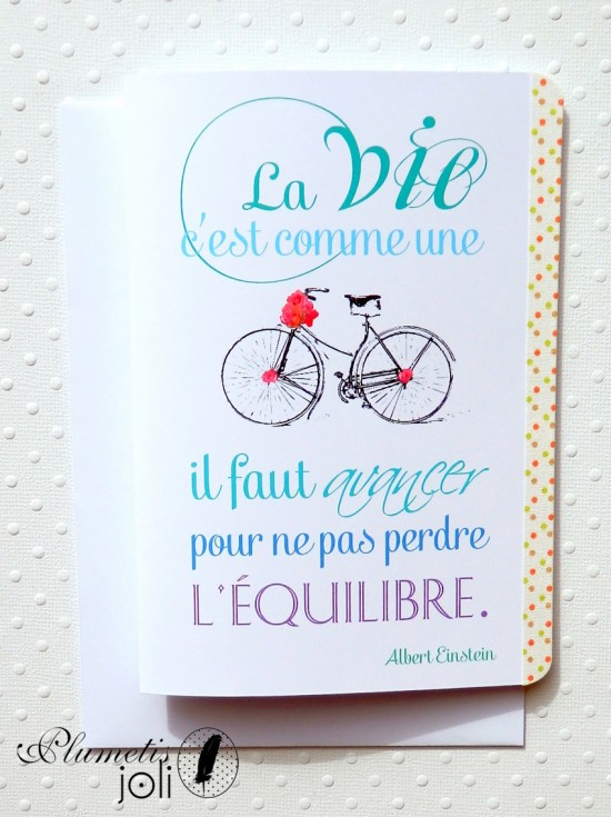 carte equilibre bicyclette einstein citation Plumetis joli
