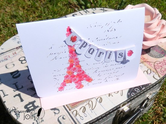 Carte Paris Balzac, guirlande rose, tour eiffel,Plumetis joli