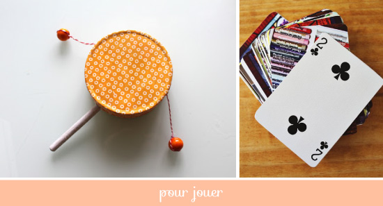 DIY Plumetis bazaar / le tambourin et les cartes à jouer