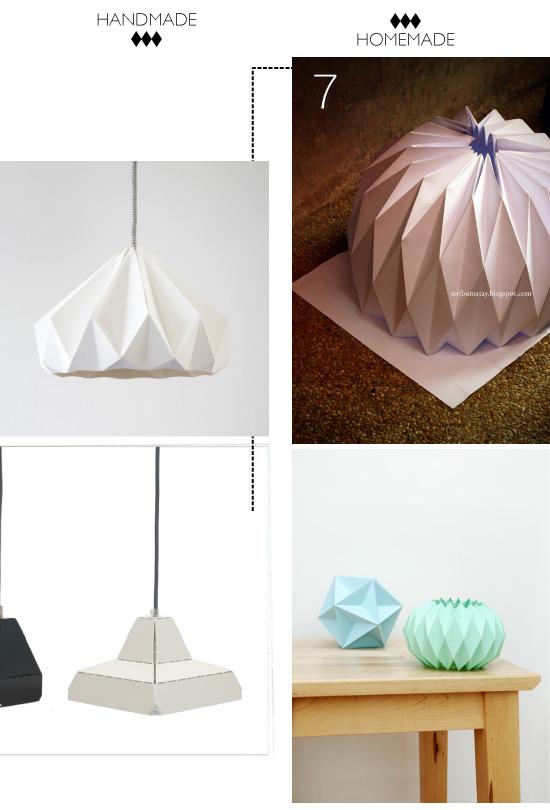 Diy abat jour et bougeoirs for Lustre papier design