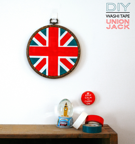 diy avec du masking tape le drapeau de l 39 union jack. Black Bedroom Furniture Sets. Home Design Ideas