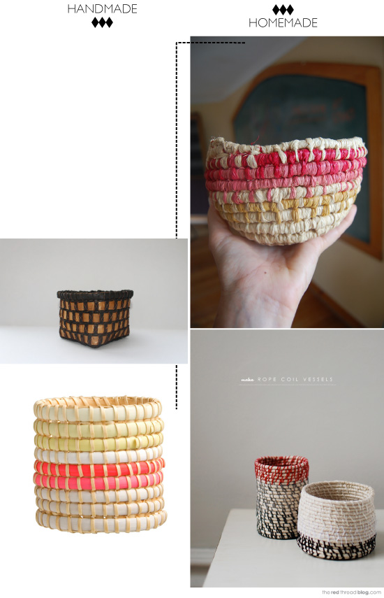 DIY woven rope baskets
