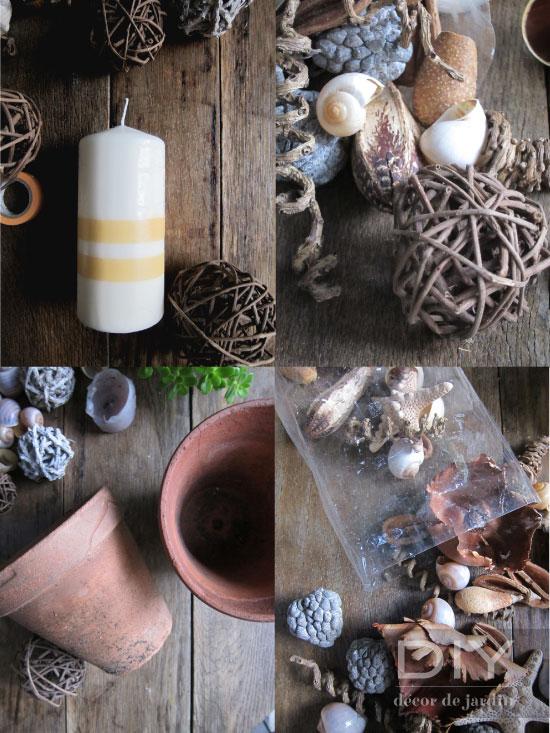 Bougies + pot + jardin