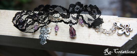 Bracelet en dentelle noire par Re-Créations