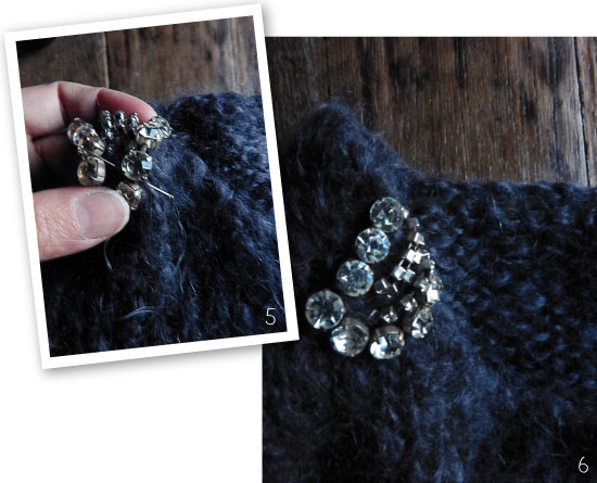 DIY Strass embellished sweater