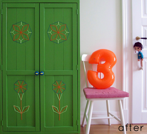 before after embroidered wardrobe // Designsponge