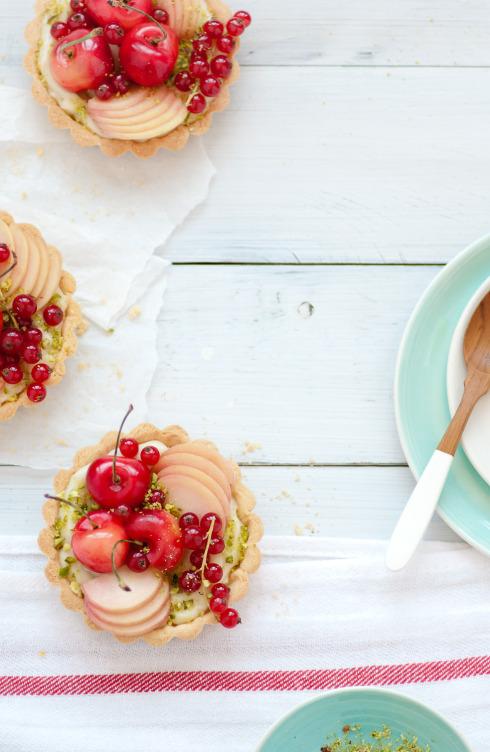 Stone Fruit Tarts w/ Coconut Pastry Cream & Pistachios