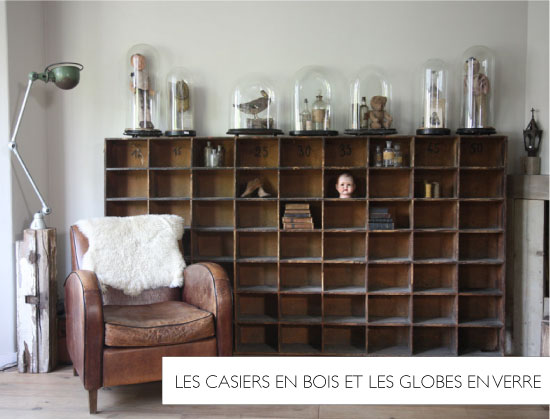 Casier en bois et globe en verre // Eight inch