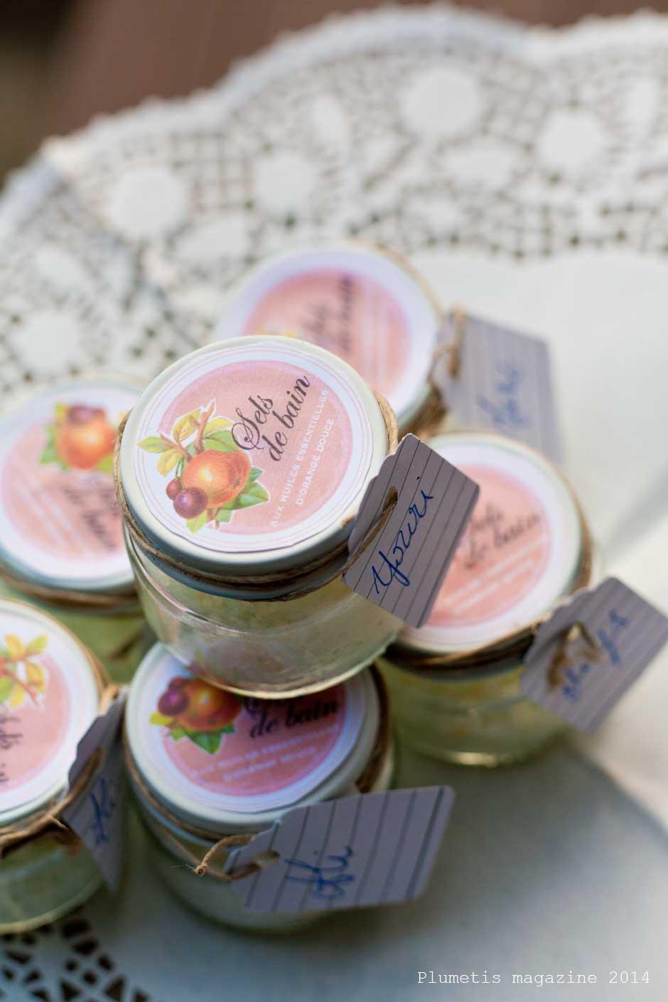 Les étiquettes de sel de bain
