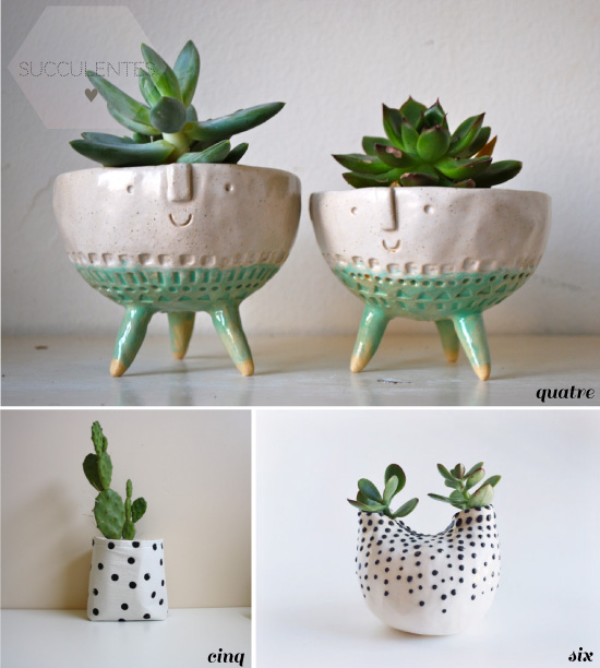 des petits pots pour succulentes. Black Bedroom Furniture Sets. Home Design Ideas