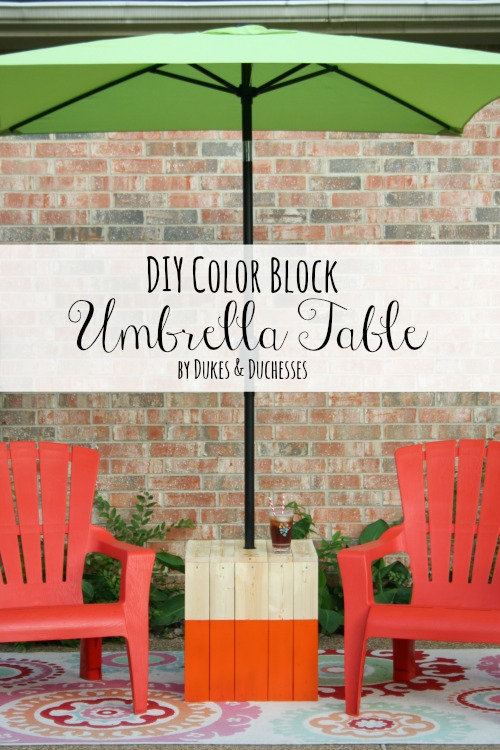 DIY color block umbrella table // Dukes&Duchesses