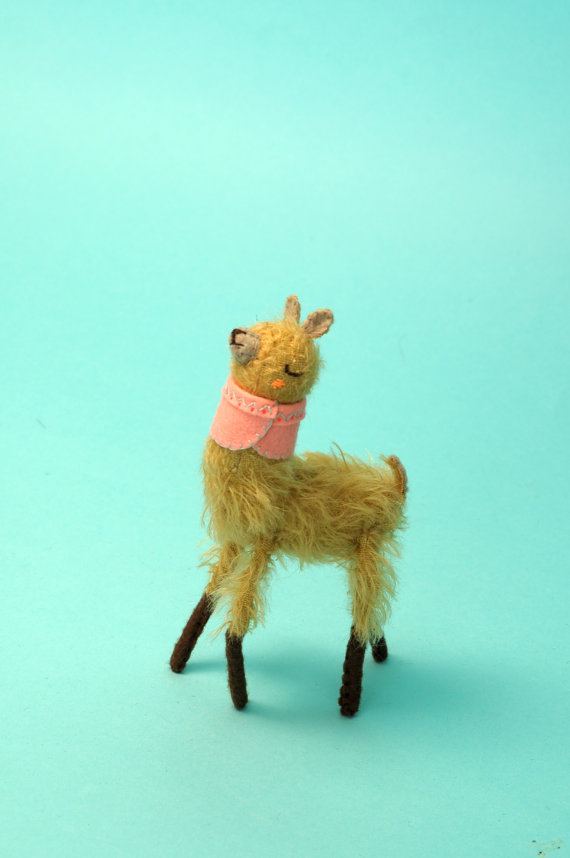 Tiny Alpaca in a Pink Cape