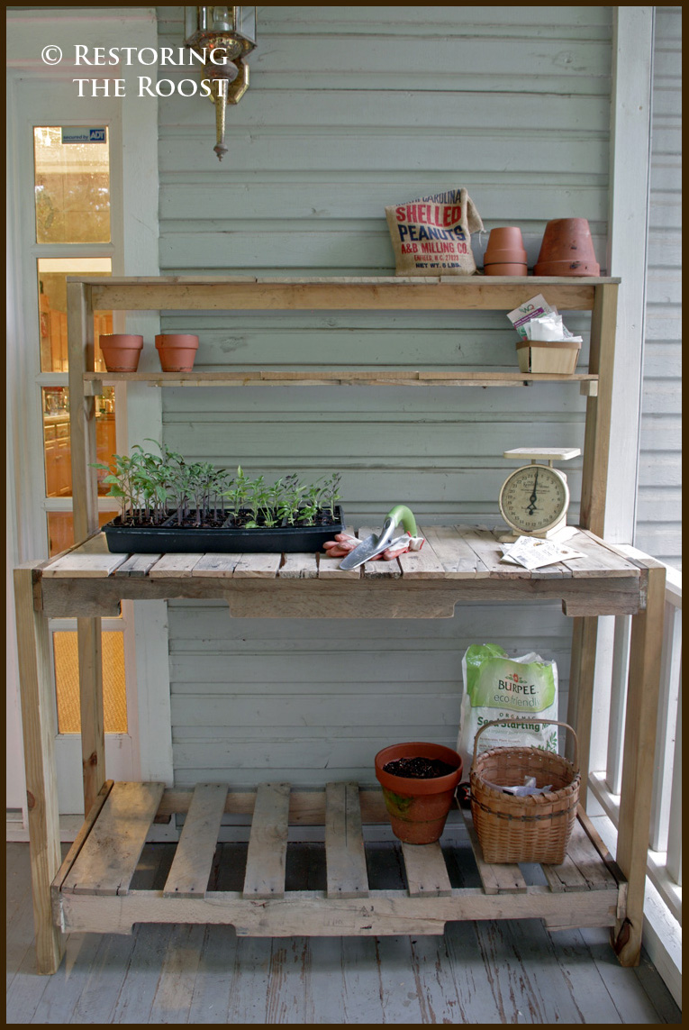 making a potting bench from pallets