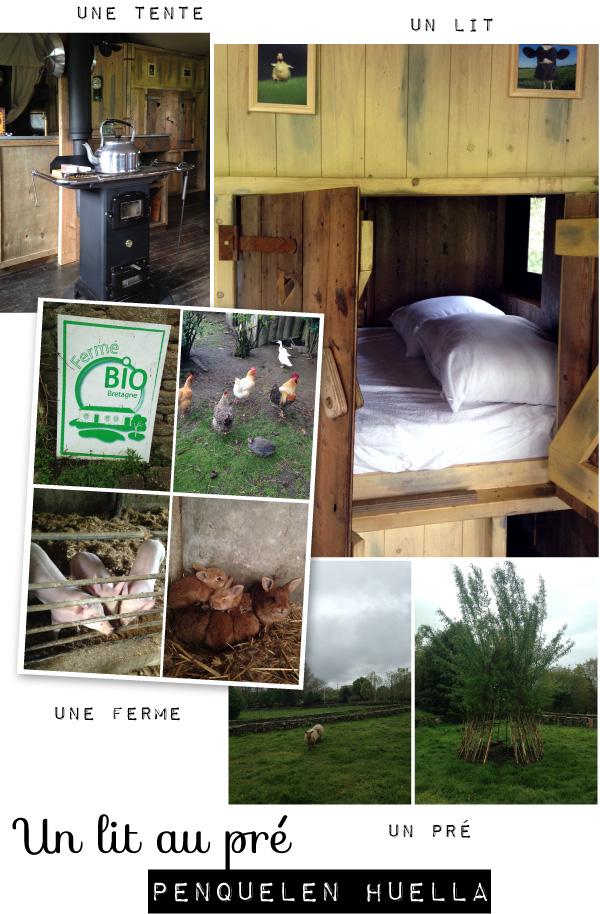 Un lit au pré à la ferme de Penquelen Huella