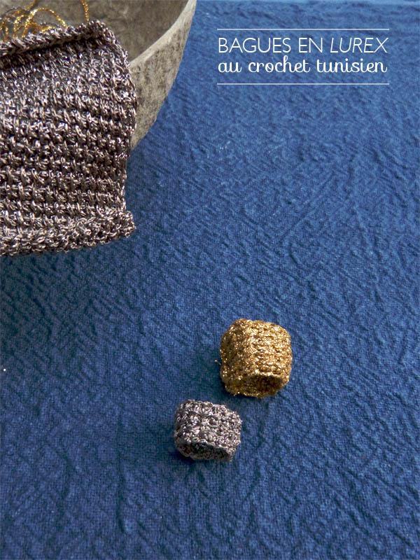 Une bague en lurex au crochet tunisien