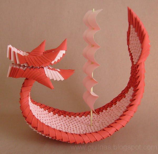 Drachenboot. 3D / modulares Origami