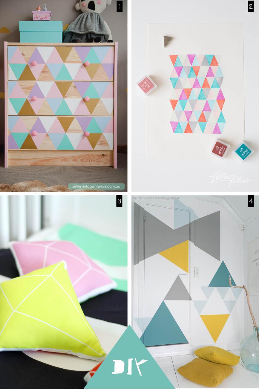 Chambre d 39 enfant avec des motifs g om triques for Peinture triangle chambre
