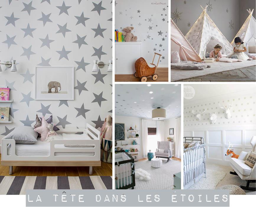 Chambre d 39 enfant la t te dans les toiles plumetis for Plafond chambre etoile