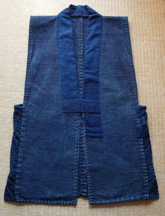 Sakiori Sodenashi, vintage Japanese rag weave vest