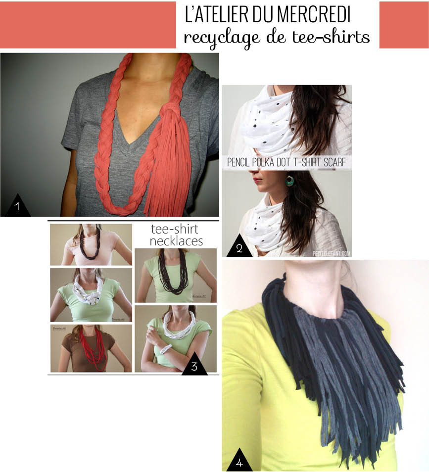 recyclage tee-shirts collier diy