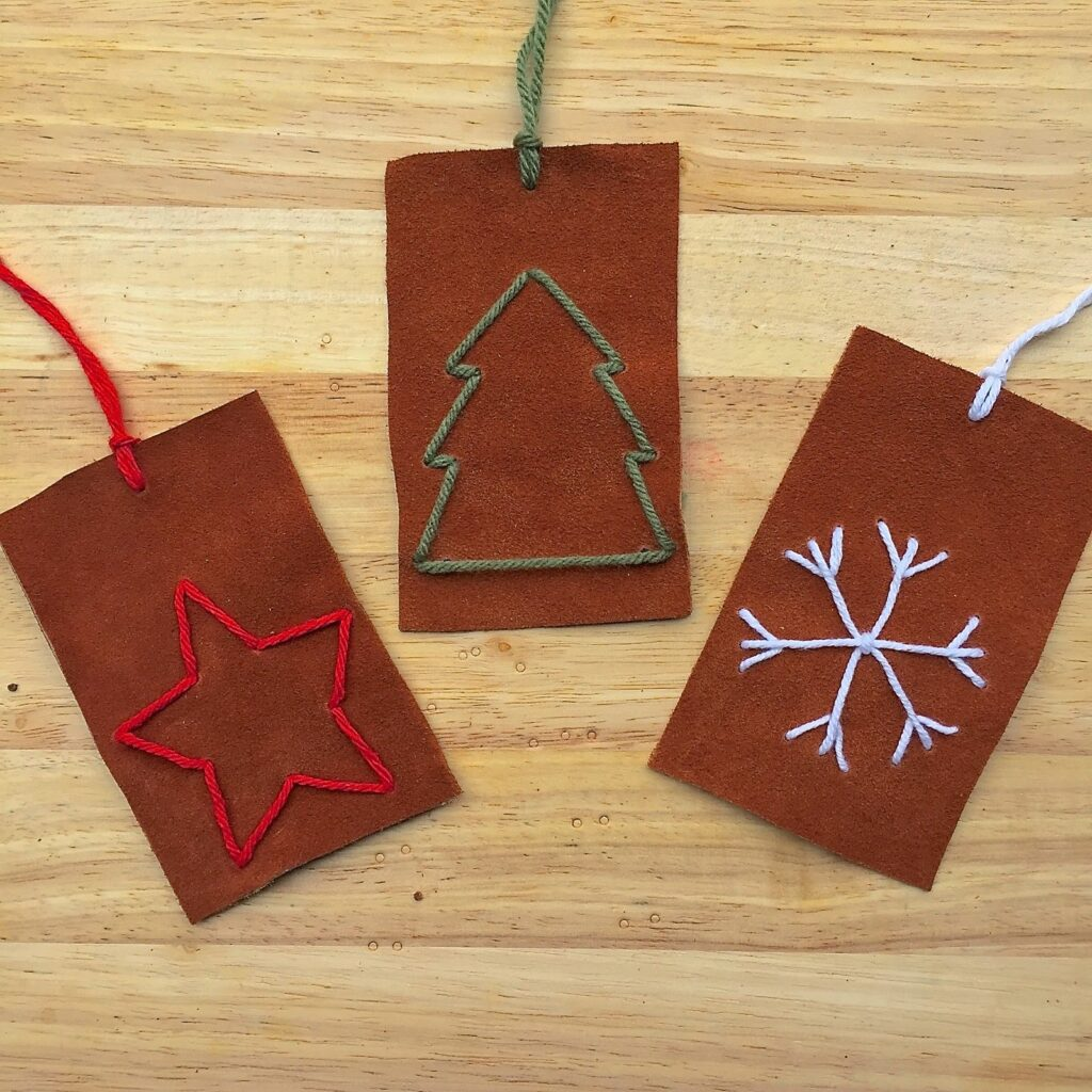 Embroidered Leather Ornaments // Handcrafted vintage