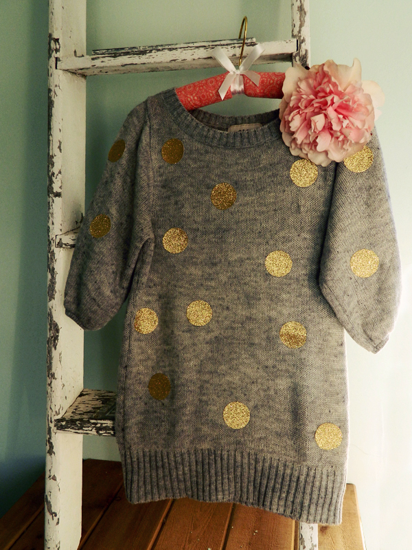 DIY Gold Sparkle Poka Dot Sweater