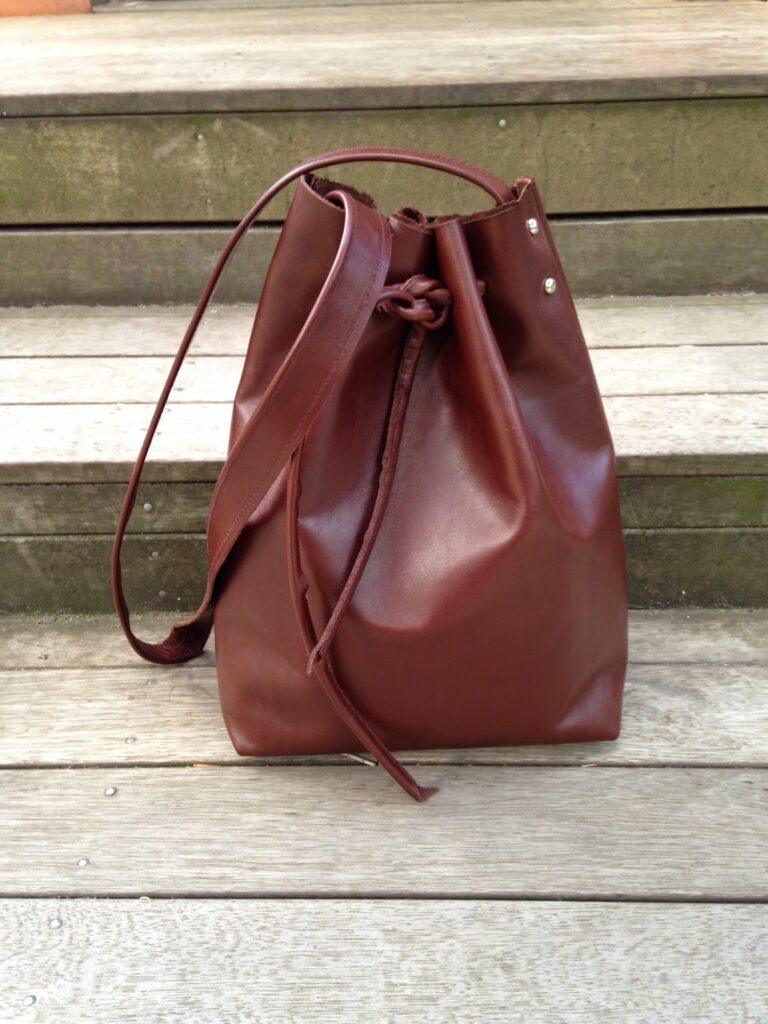 leather bucket bag all wrapped up