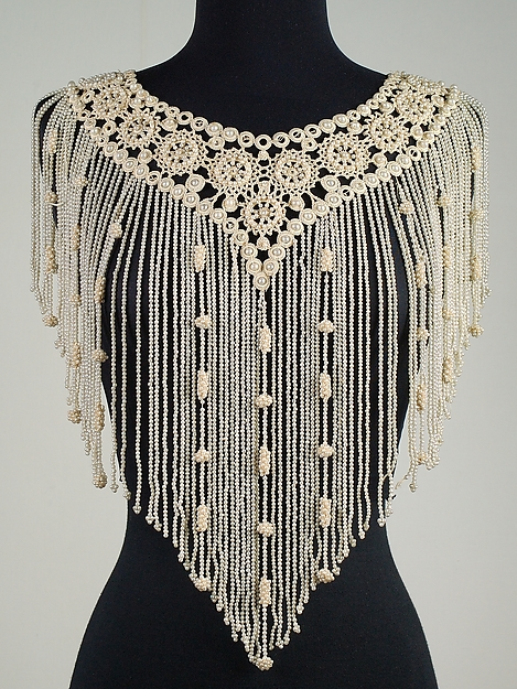 Collar - 1892 - French - Silk, linen, beads // Brooklyn Museum Costume