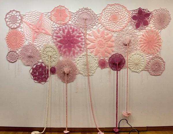 Le Ciel est rose laine acrylique 300cm X 200 cm