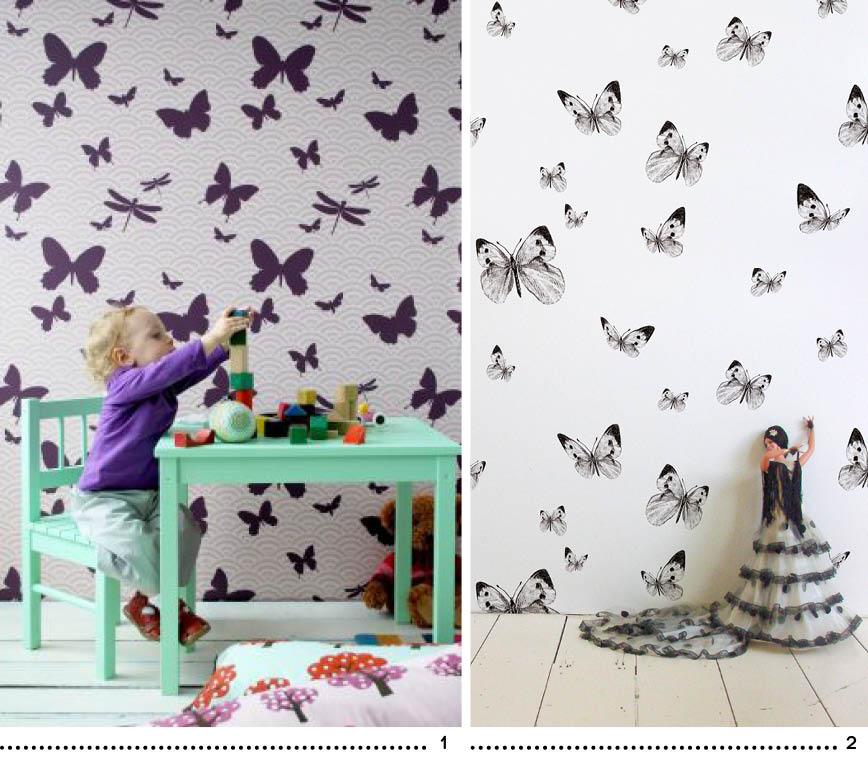 papier peint papillons enfant