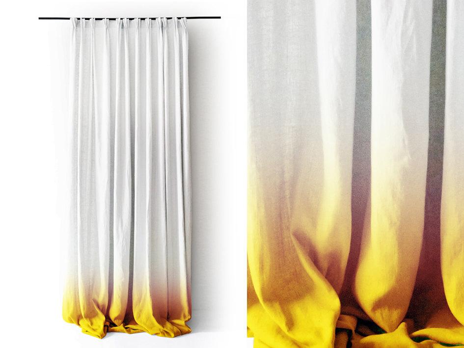 Diy des rideaux en d grad de couleur - Rideau tie and dye ...