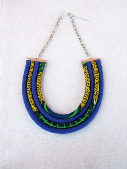 African wax print fabric blue and yellow bib necklace // nad205