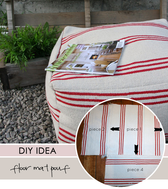 DIY floor mat pouf