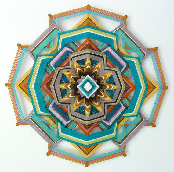 Heart of Gold, 18 inch, 12-sided yarn mandala,