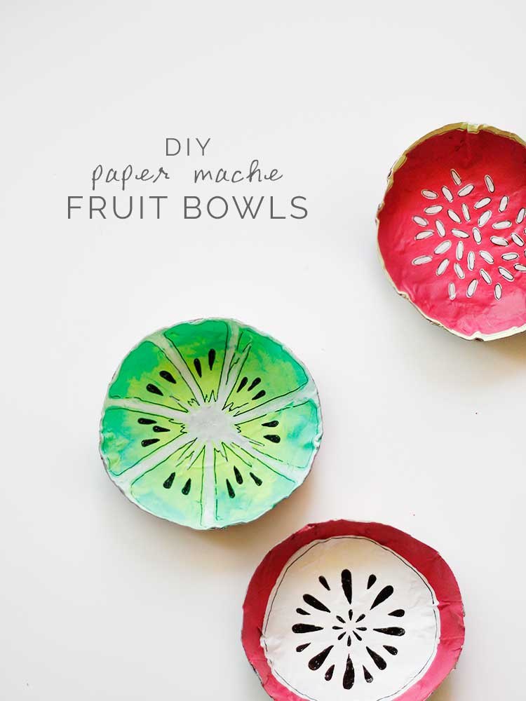 These+paper+mache+fruit+bowls+are+an+easy+DIY+just+in+time+for+summer+|+Wellnesting
