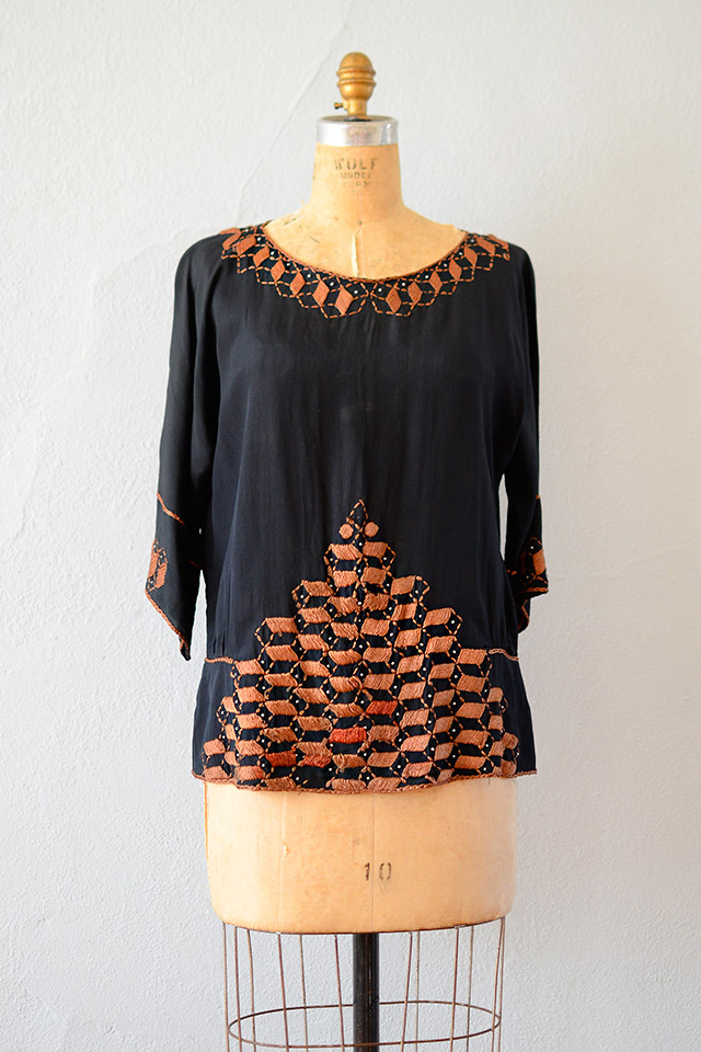 vintage 1920s black orange silk tunic top